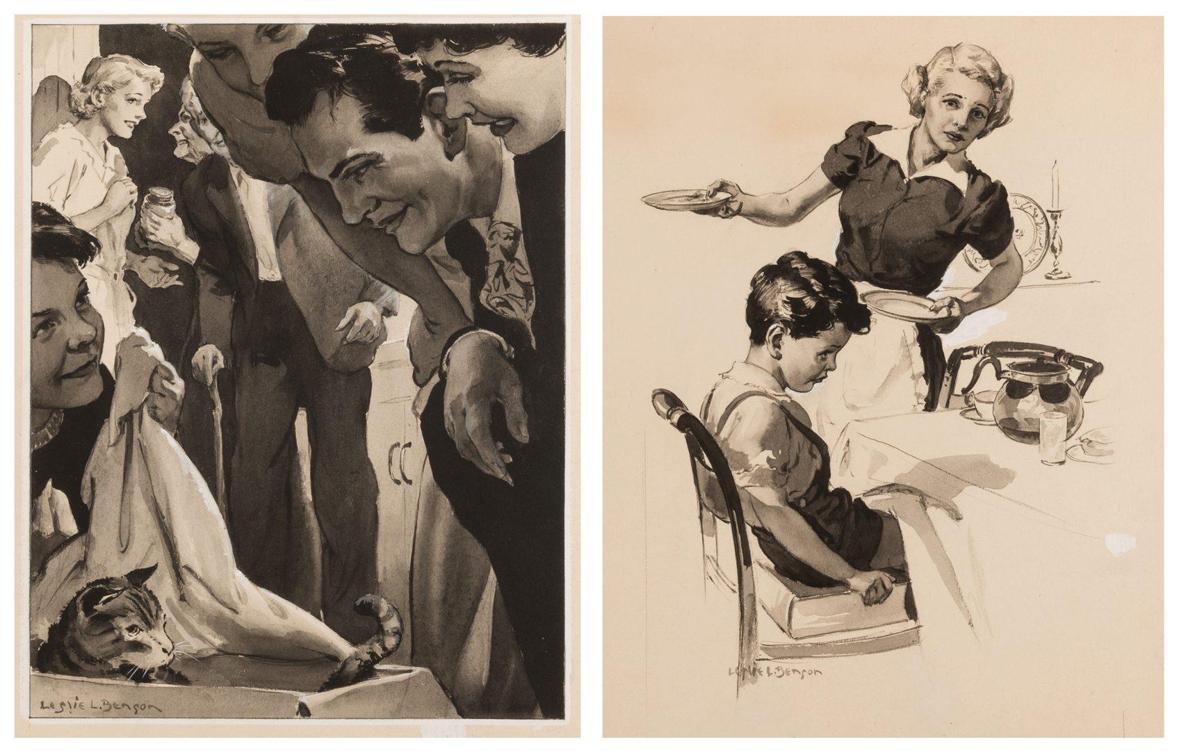 Lot 612: 2 Leslie Benson illustration paintings