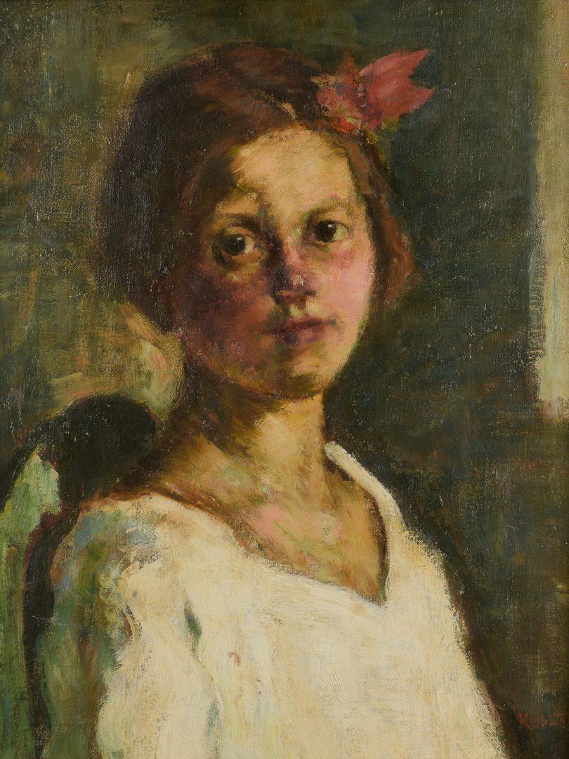 Lot 613: Jozsef Koszta O/C Portrait