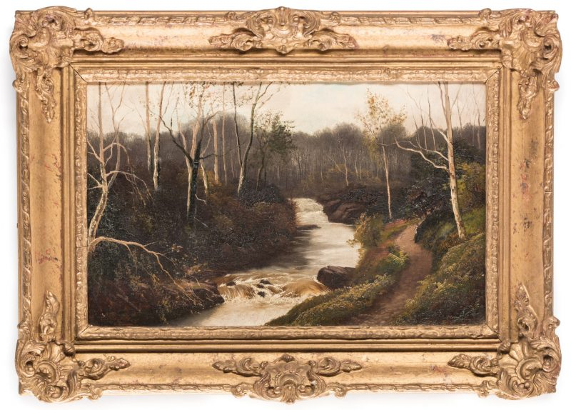 Lot 618: Henry Robinson Hall, O/C, Stream with Birch Trees