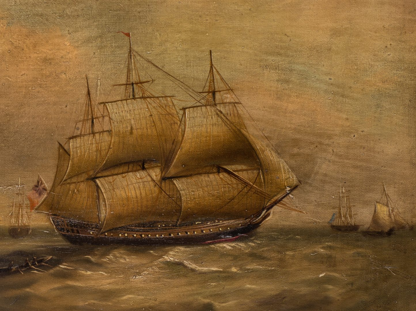 Lot 619: 19th Century Maritime Oil Painting