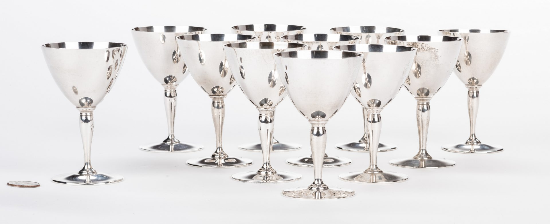 Lot 61: Set of 11 Tiffany & Co Sterling Silver Goblets