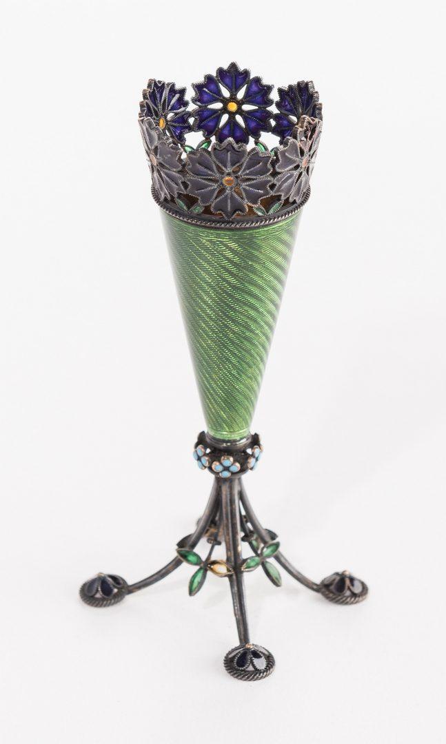 Lot 625: Limoges Mirror & Norway Enamel Vase