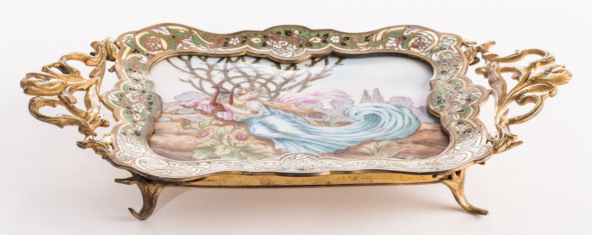 Lot 626: French Art Nouveau Bronze & Porcelain Tray