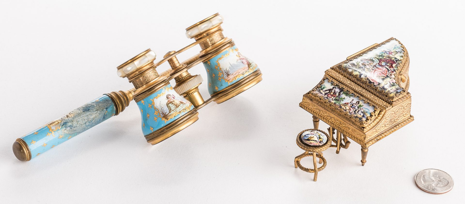 Lot 627: Grouping Viennese Enamels, incl Small Piano
