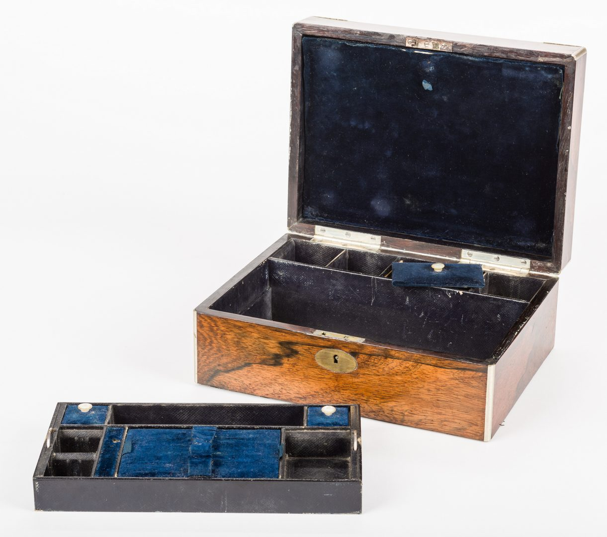 Lot 628: English Rosewood Tea Caddy & Vanity Box, 2 items