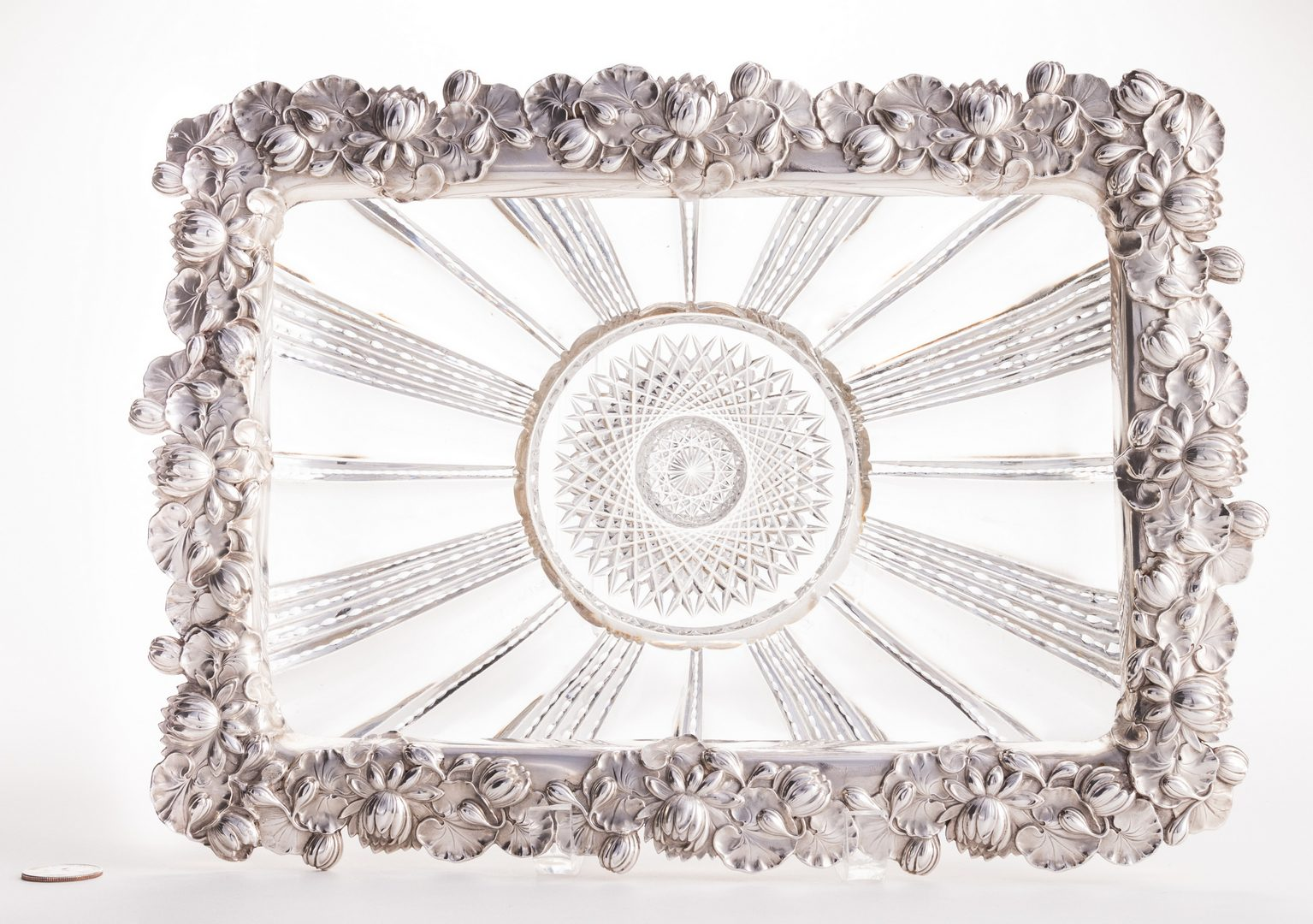 Lot 631: Cut Glass Serving Dish w/ Sterling Rim