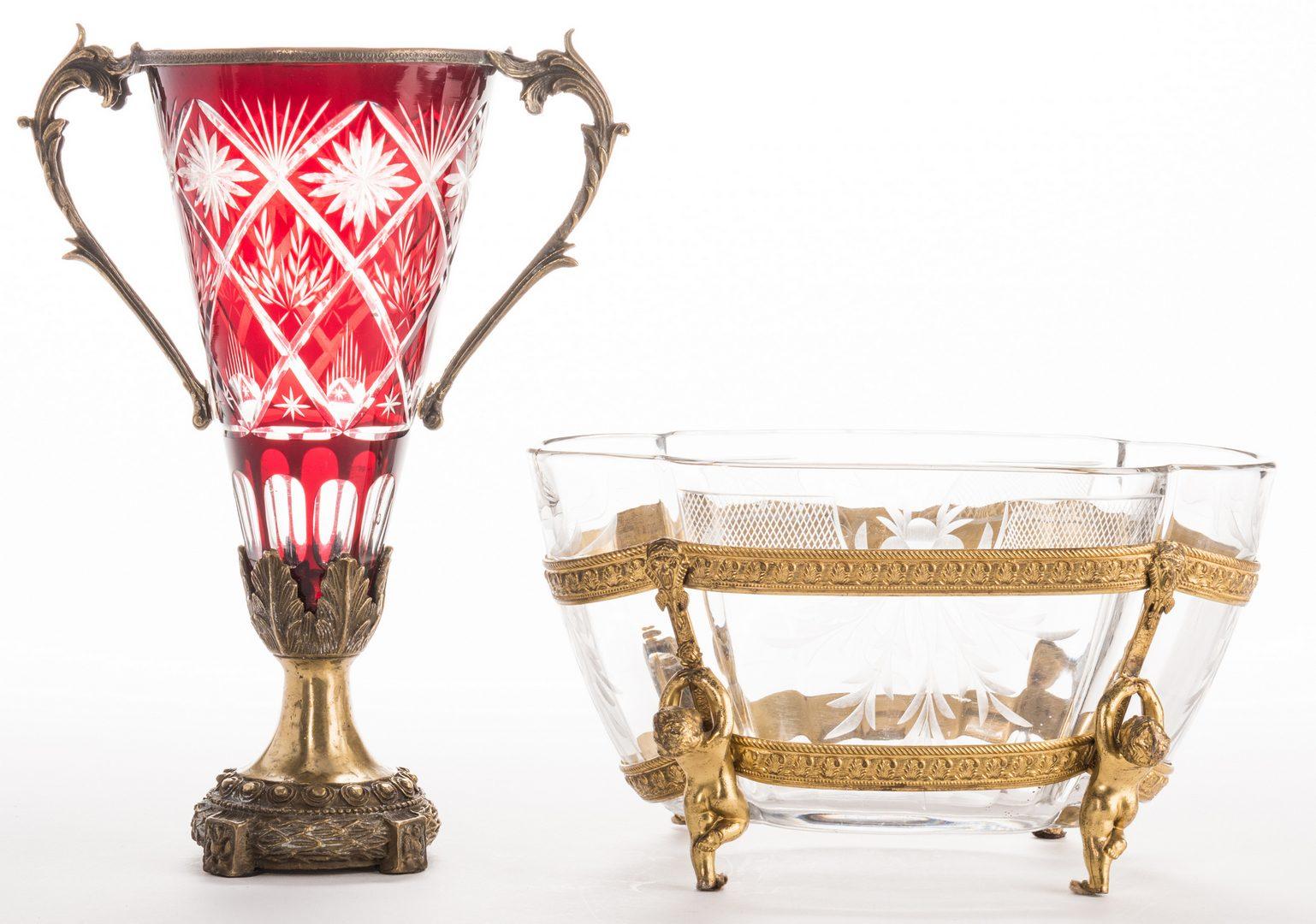 Lot 632: Gilt Bronze & Cut Glass Centerpiece and Vase, 2 items