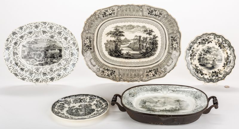 Lot 635: Black Transferware, English & American, 5 pcs