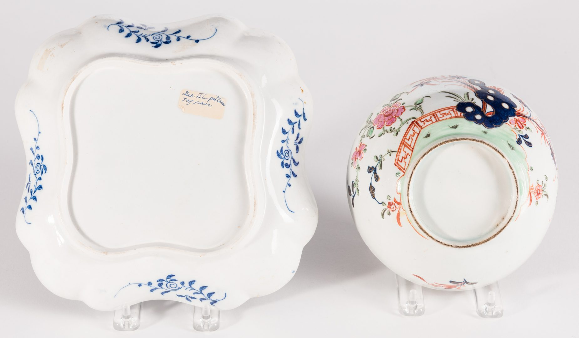 Lot 637: Creamware Hunt Jug, Dr. Wall Dish and Pearlware Bowl