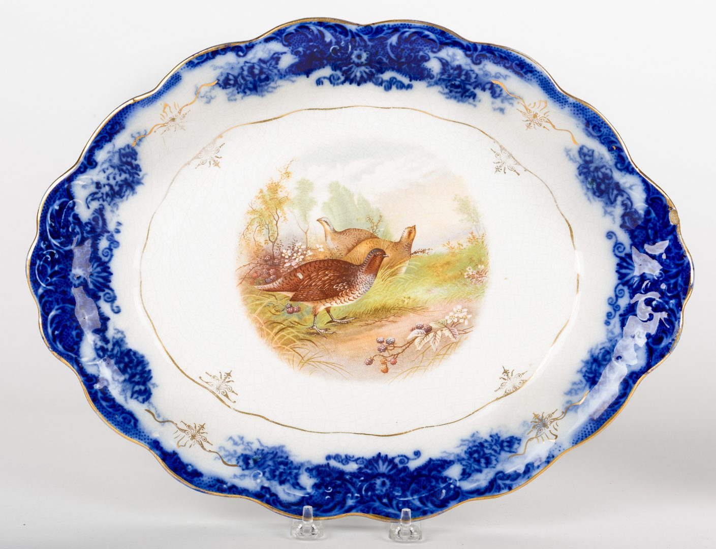 Lot 639: 4 Porcelain items including Turkey and Pheasant Platters, 2 Pitchers