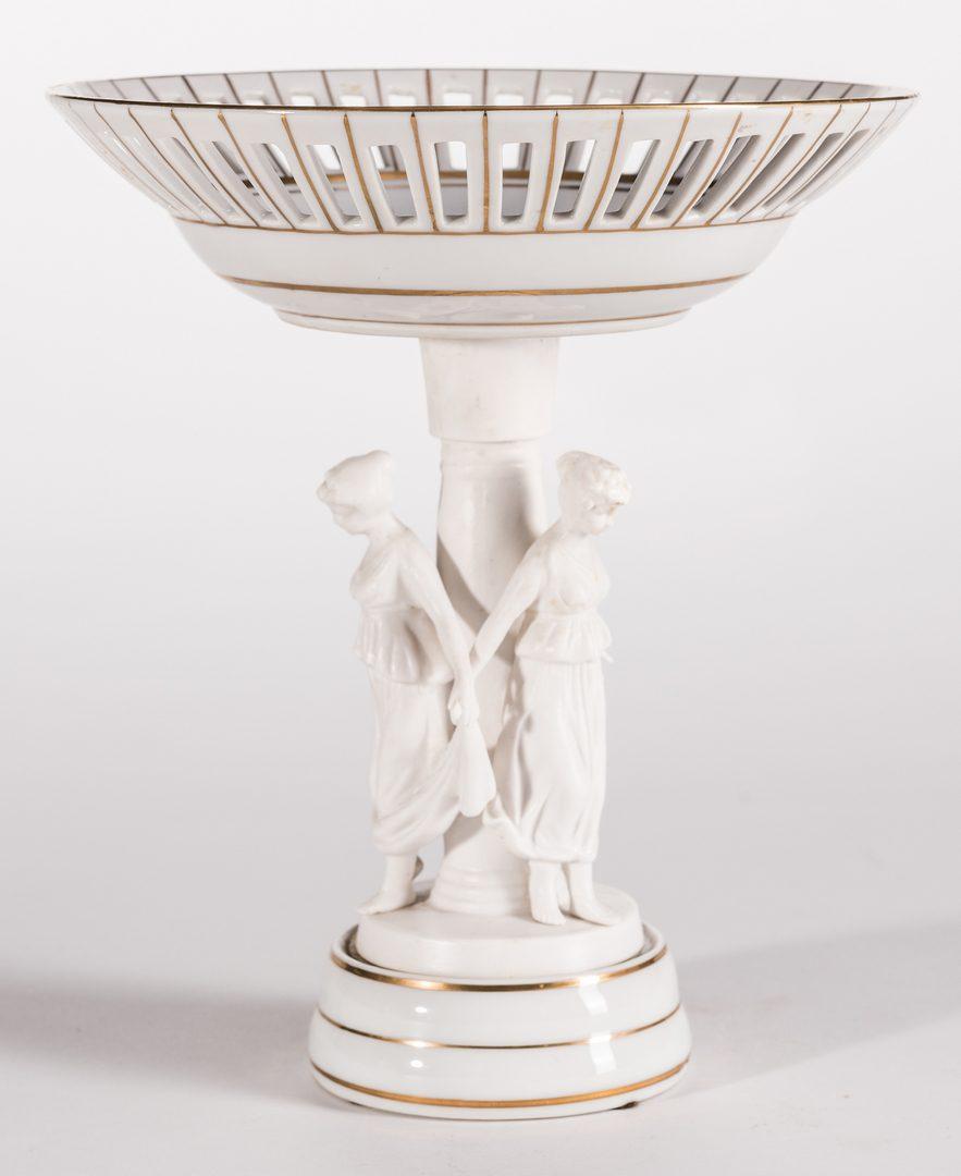 Lot 640: European Figural Centerpiece & Pr. Neoclassical Figures, 3 items