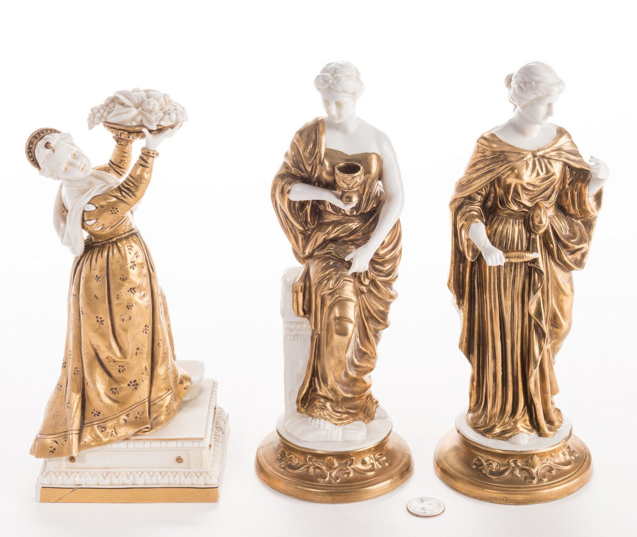 Lot 641: 3 Blanc De Chine Gilt Decorated Female Figures