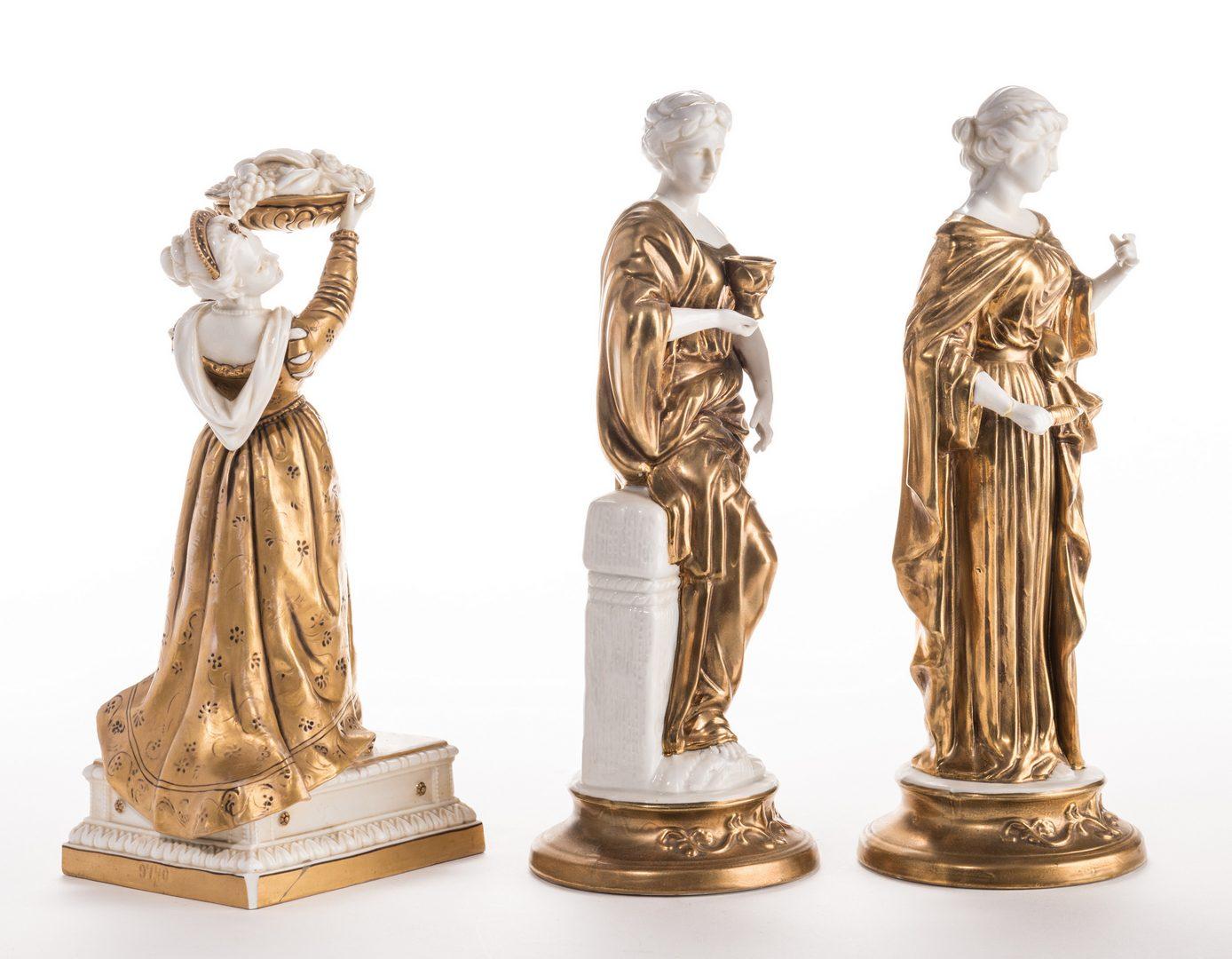 Lot 641: 3 Blanc De Chine Gilt Decorated Female Figures