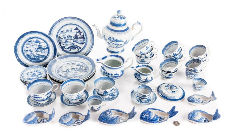 Lot 645: Canton Partial Tea Set & more, 42 pcs