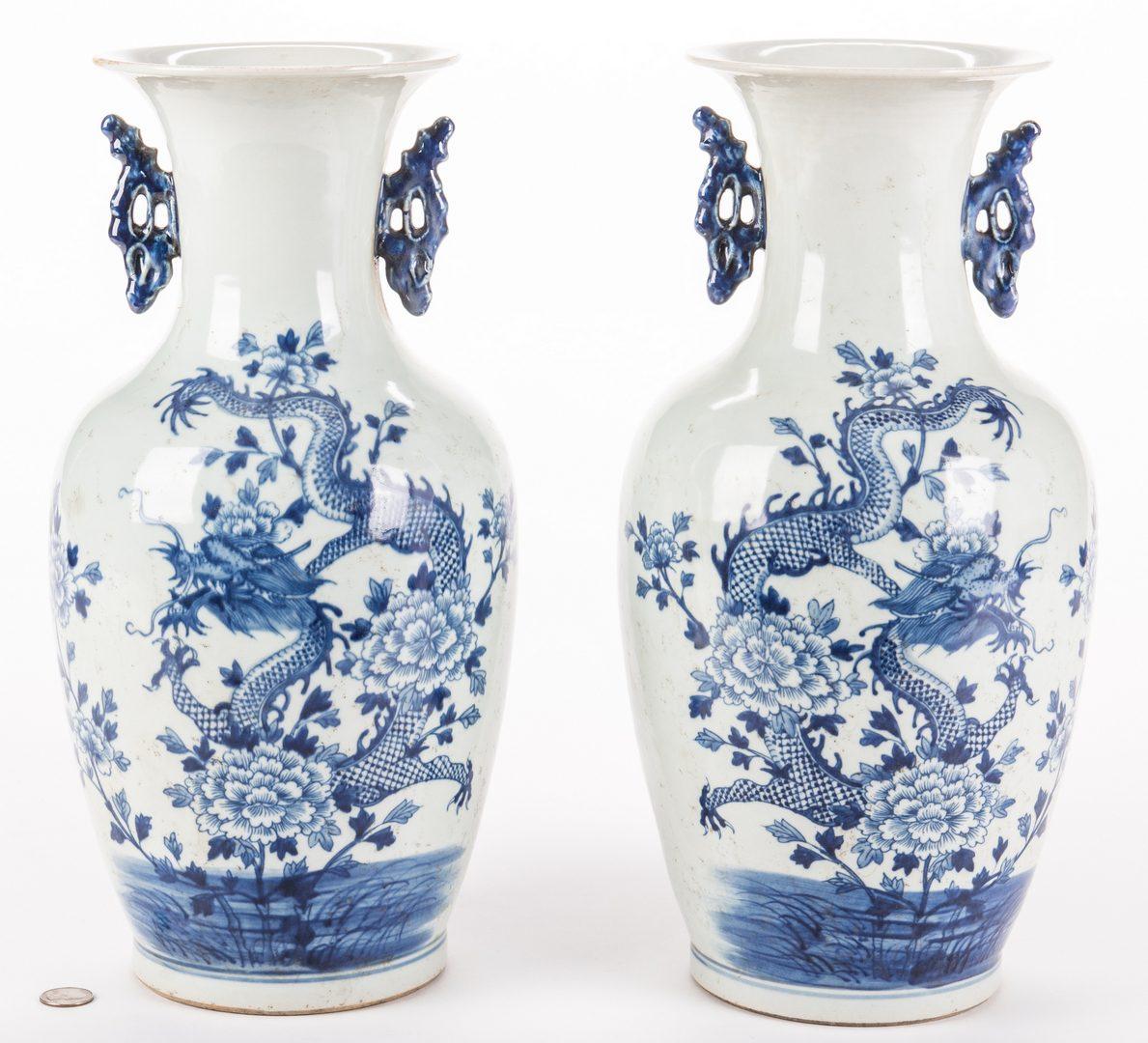 Lot 647: Pr. Chinese Porcelain Blue & White Dragon Vases