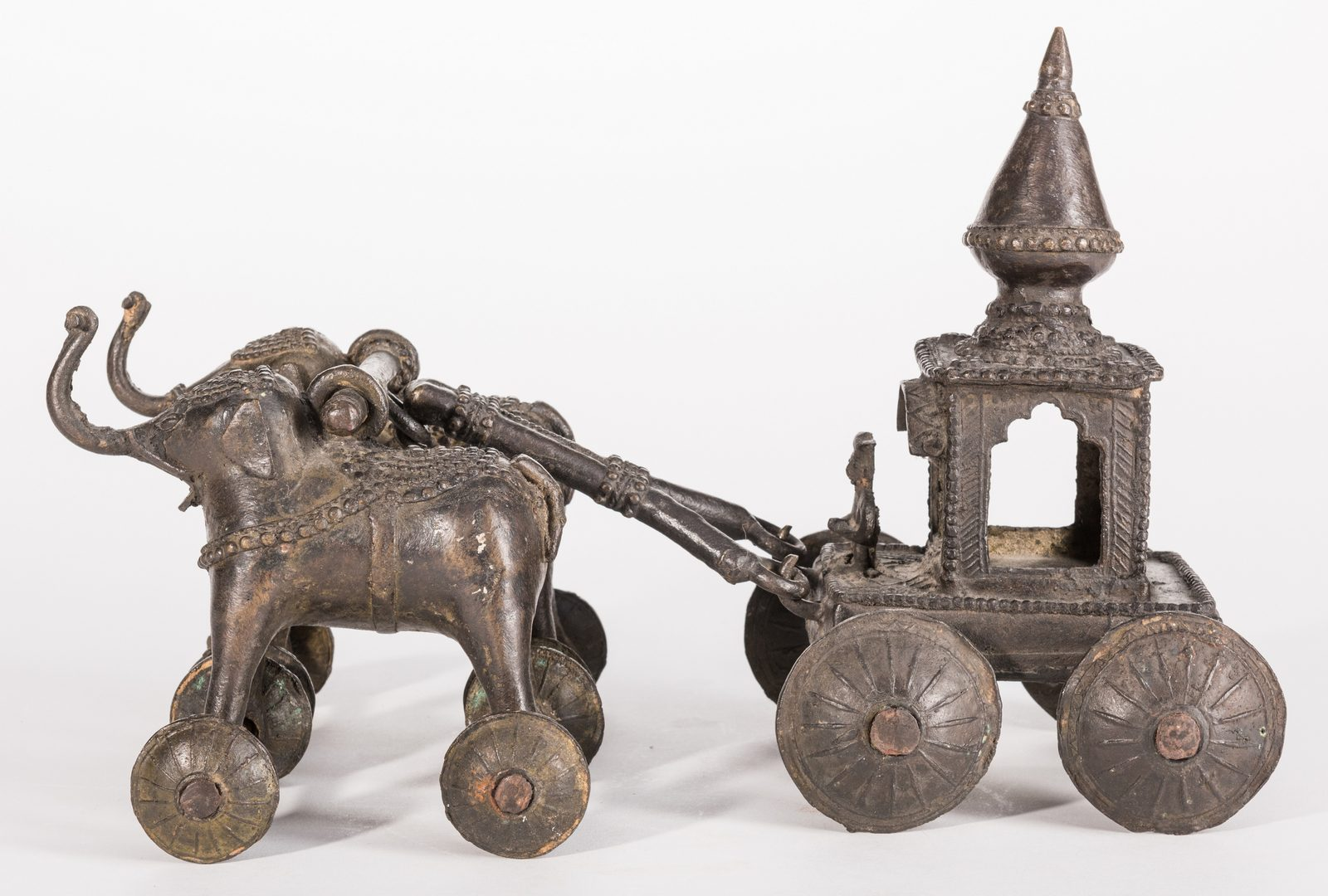 Lot 650: 4 Bronze Asian Items, inc. Temple Toys