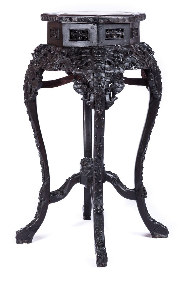 Lot 654: Chinese Carved Octagonal Table or Plant Stand