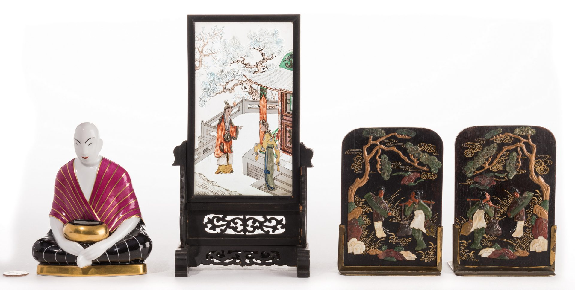 Lot 658: 4 Chinese Ancestor Portraits & 3 Asian Decorative Items, 7 items