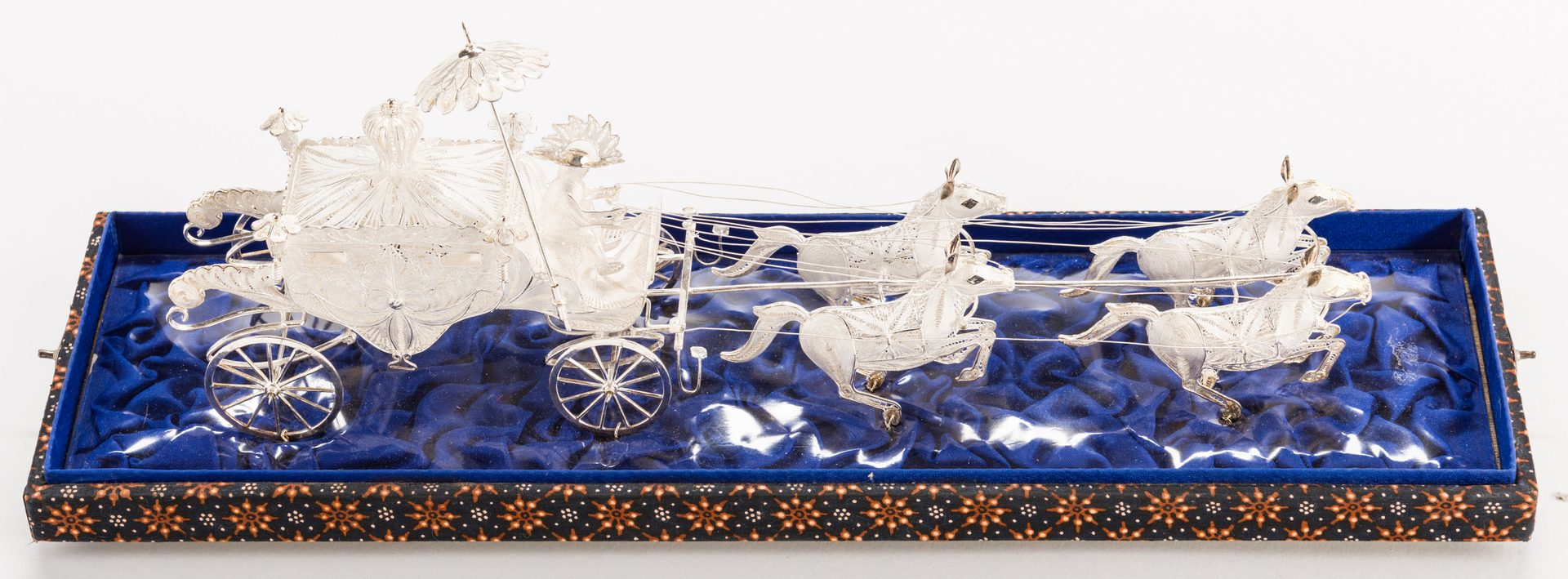 Lot 659: Indonesian or Asian Silver Filigree Carriage w/ Horses