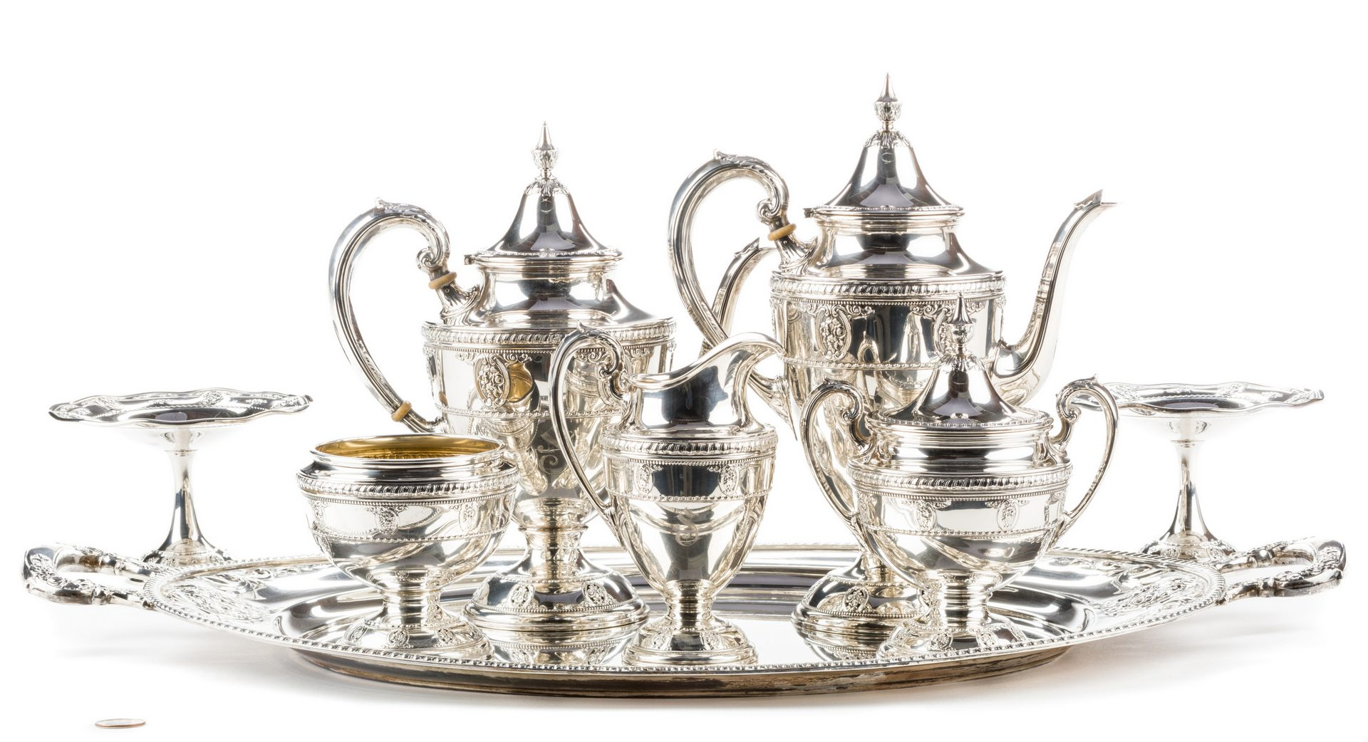 Lot 65: Wallace Sterling Rose Point Tea Service & Tray, 8 pcs
