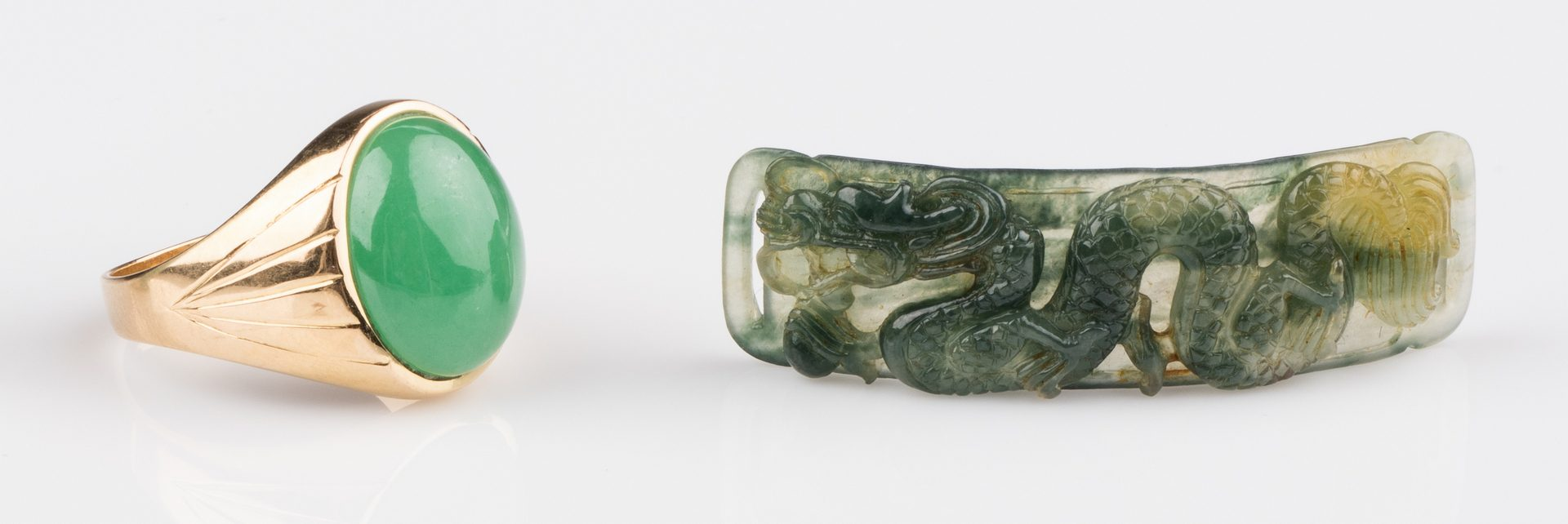 Lot 660: 18K Apple Green Jade Ring + 2 Plaques