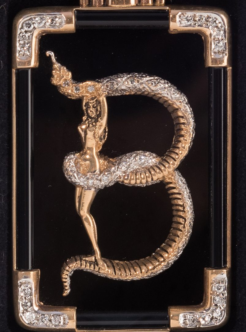 Lot 662: Erte Bronze Letter B Brooch