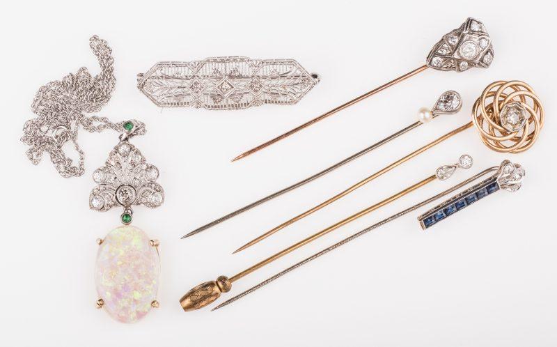 Lot 663: 14K & 10K Vintage Jewelry w/ Diamonds, 7 items