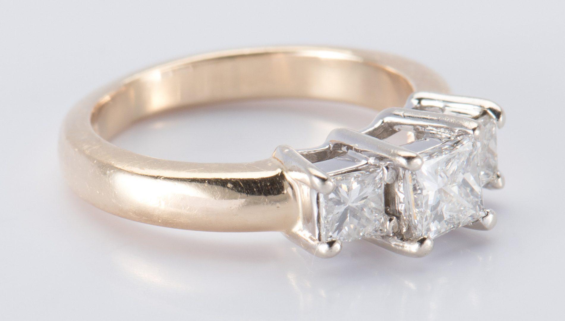 Lot 666: 14K 3-stone Princess Diamond Ring