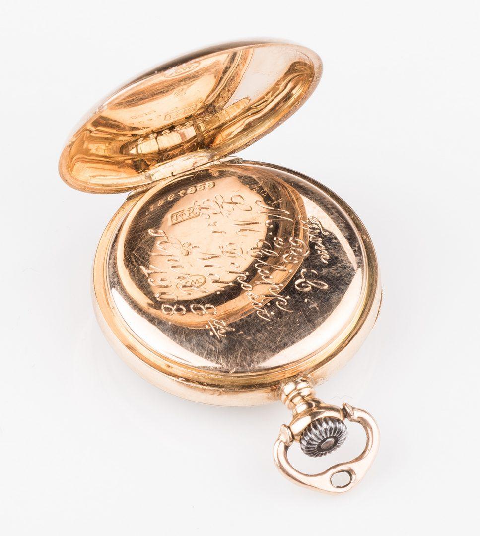 Lot 668: 14K Diamond Watch & 14K Pendant Watch, 2 items