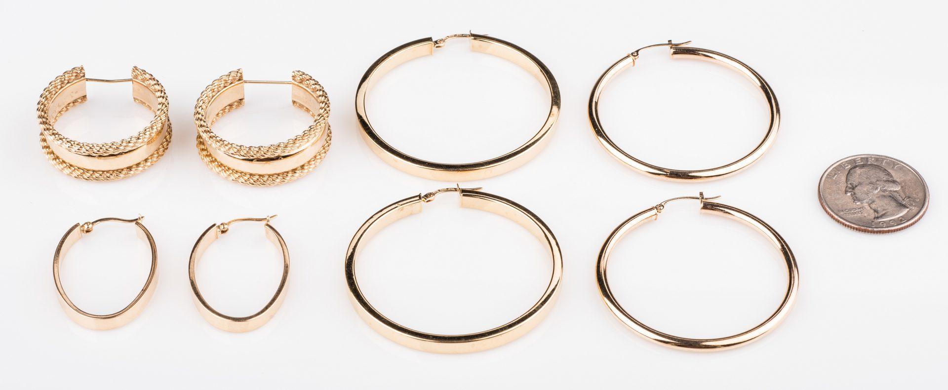 Lot 669: 4 Pair 14K Hoop Earrings, 19.8 grams