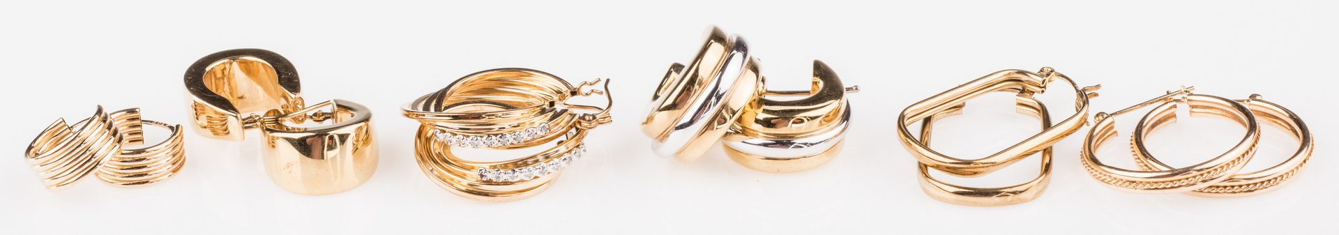 Lot 670: 6 Pair 14K Hoop Earrings, 1 w/ Diamonds