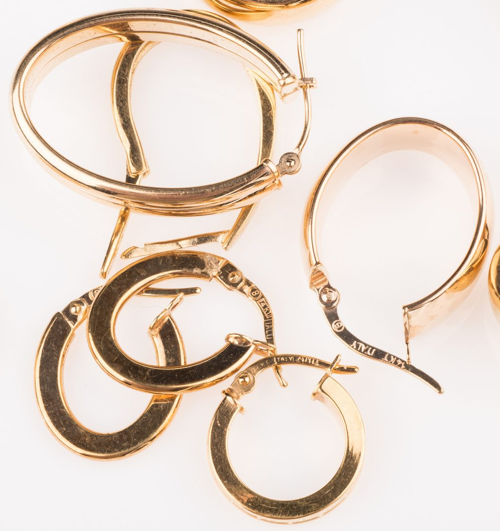 Lot 671: 8 Pair 14K Hoop Earrings, 20.2 grams