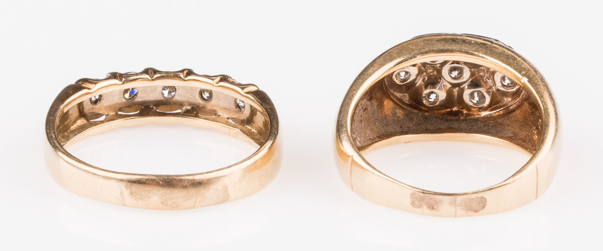 Lot 677: Two 14K Gents Diamond Rings