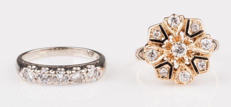 Lot 678: Two 14K Vintage Diamond Rings