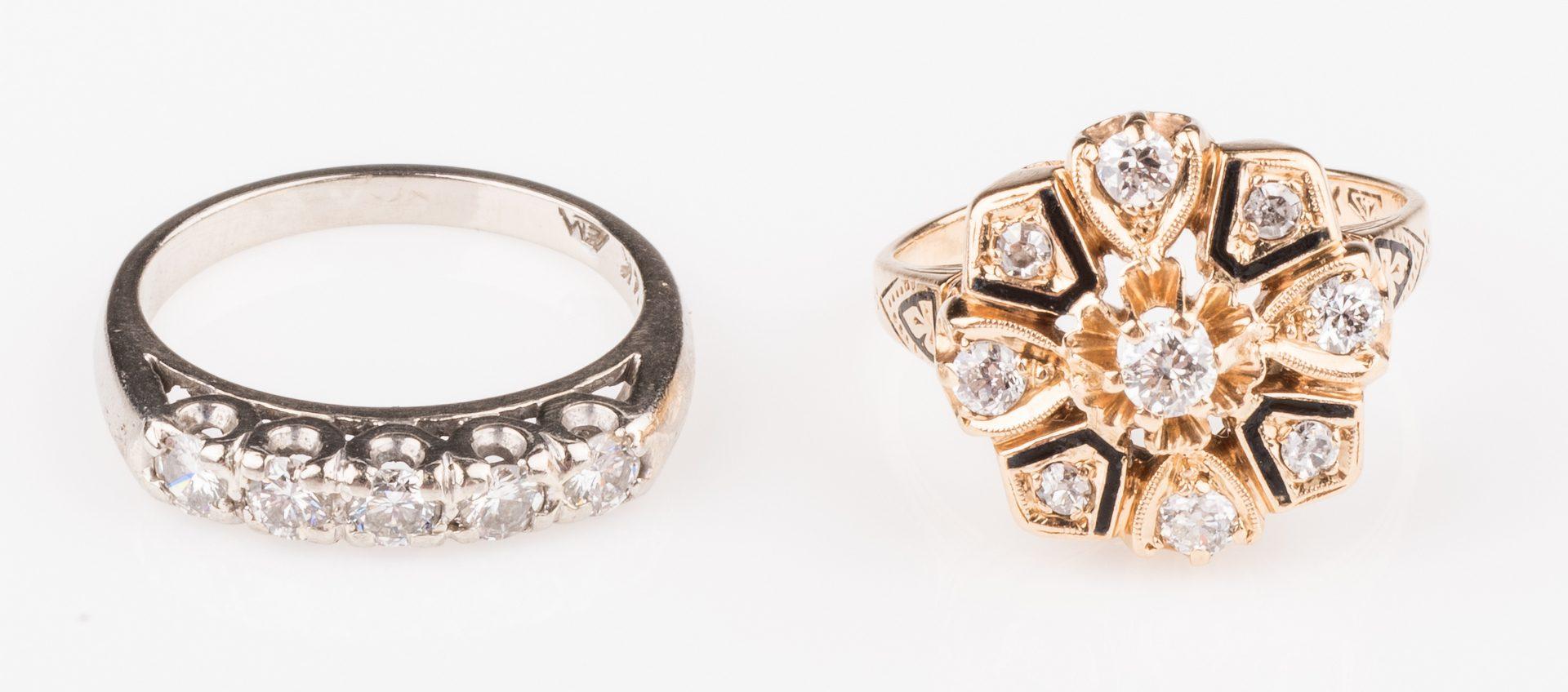 Lot 678: Two 14K Vintage Diamond Rings