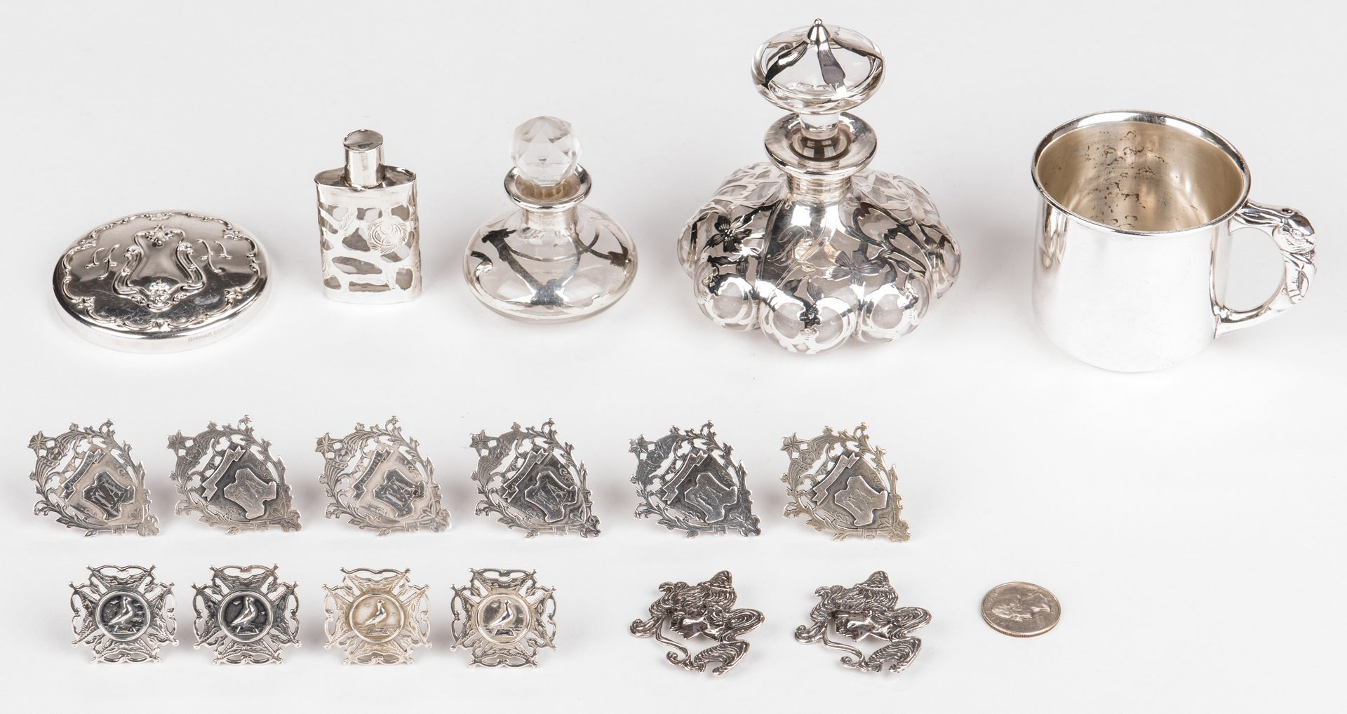 Lot 683: 6 English Sterling Masonic Fob Medals & more, 17 pcs.