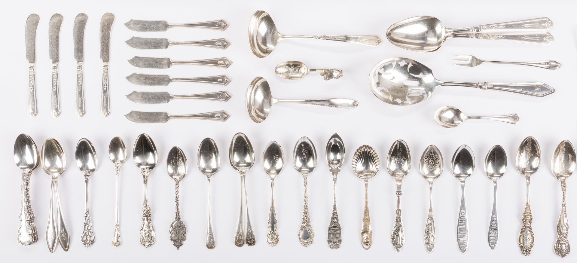 Lot 692: Assembled Grouping Sterling Silver Flatware, 61 pcs