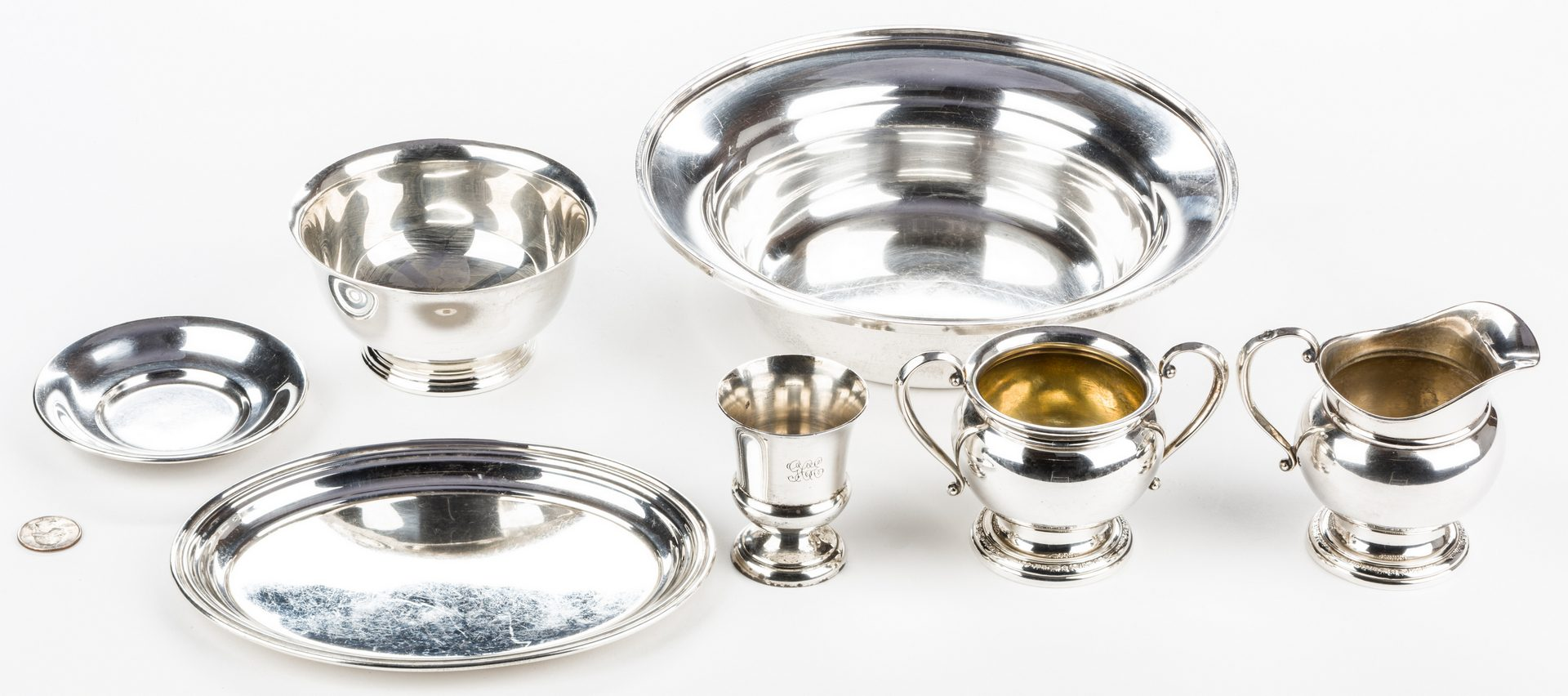Lot 694: 8 Pieces Sterling Silver Hollowware inc. Kirk Bowl