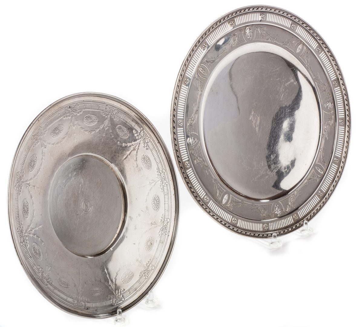 Lot 697: 2 Sterling Serving Platters, inc. Tiffany