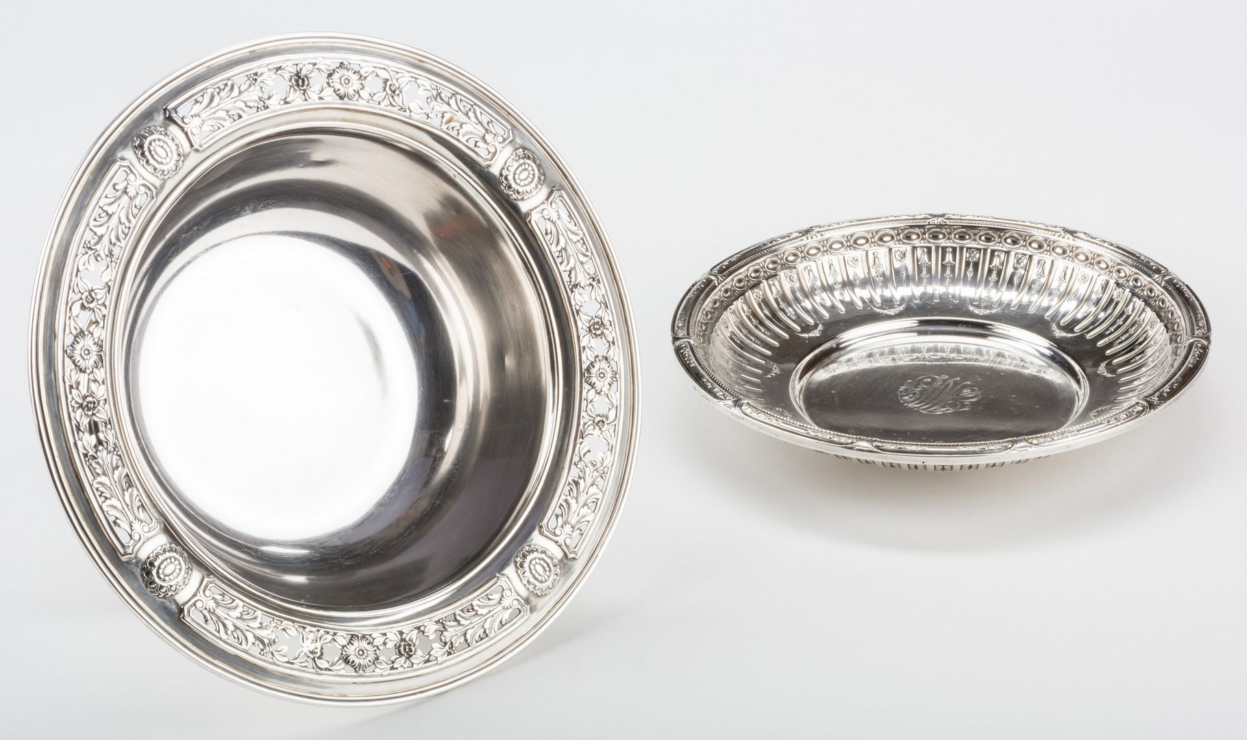 Lot 699: Sterling Center Bowl and Vegetable Bowl