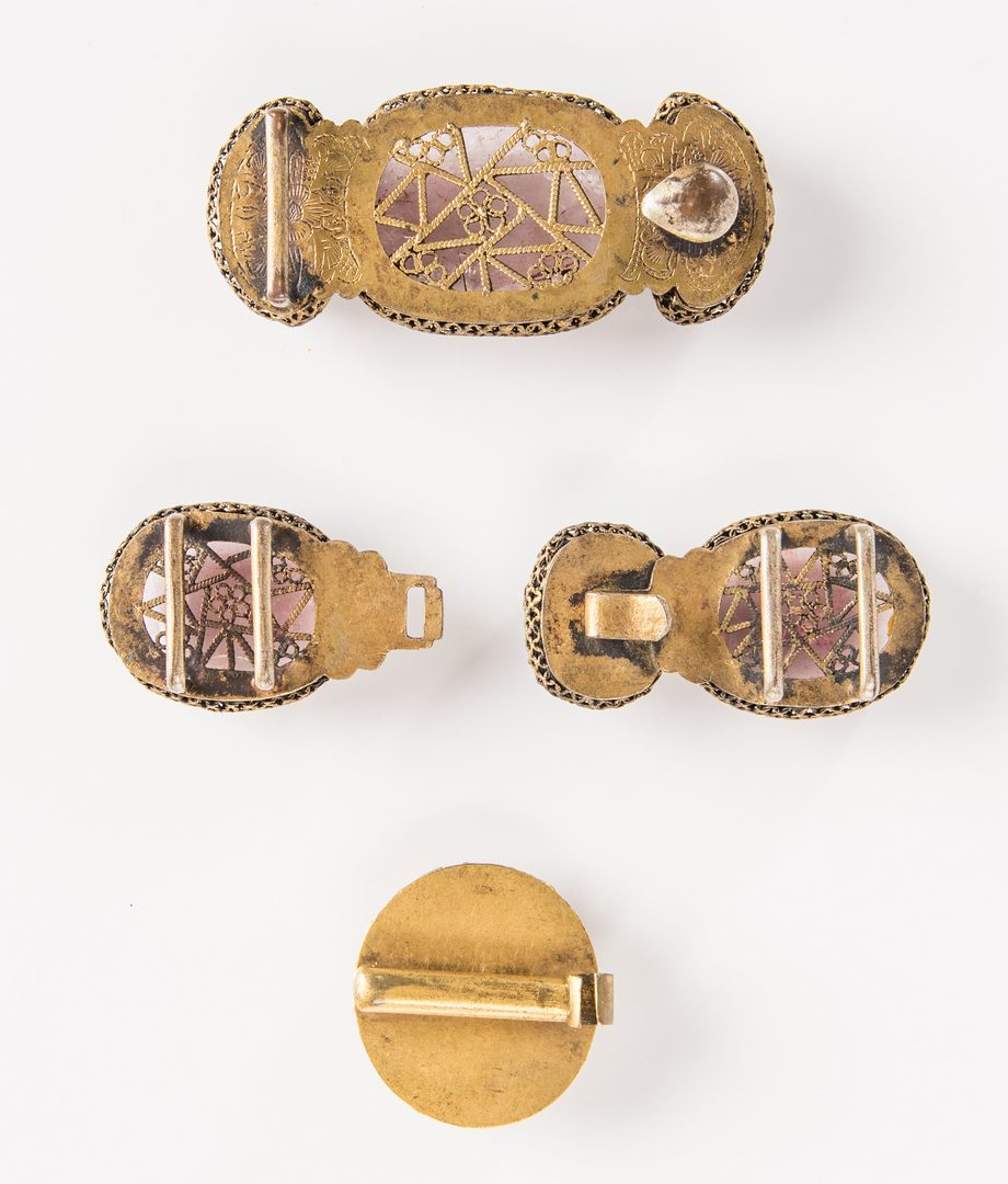 Lot 6: 3 Chinese Quartz, Agate & Gilt Bronze Belt Buckles