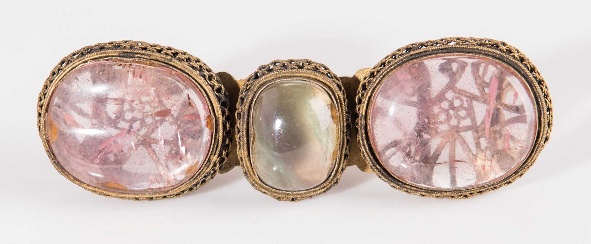 Lot 6: 3 Chinese Quartz, Agate & Gilt Bronze Belt Buckles