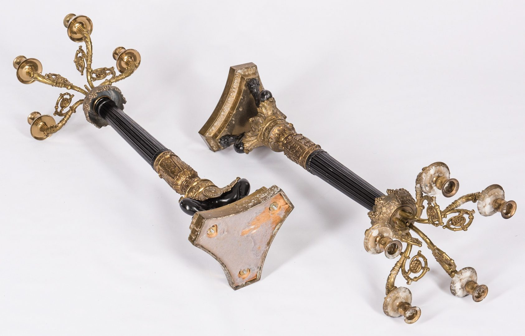 Lot 711: Pair Parcel Gilt Candelabra