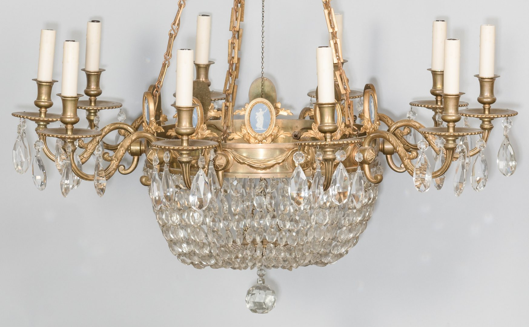 Lot 712: Gilt Bronze Wedgwood Chandelier