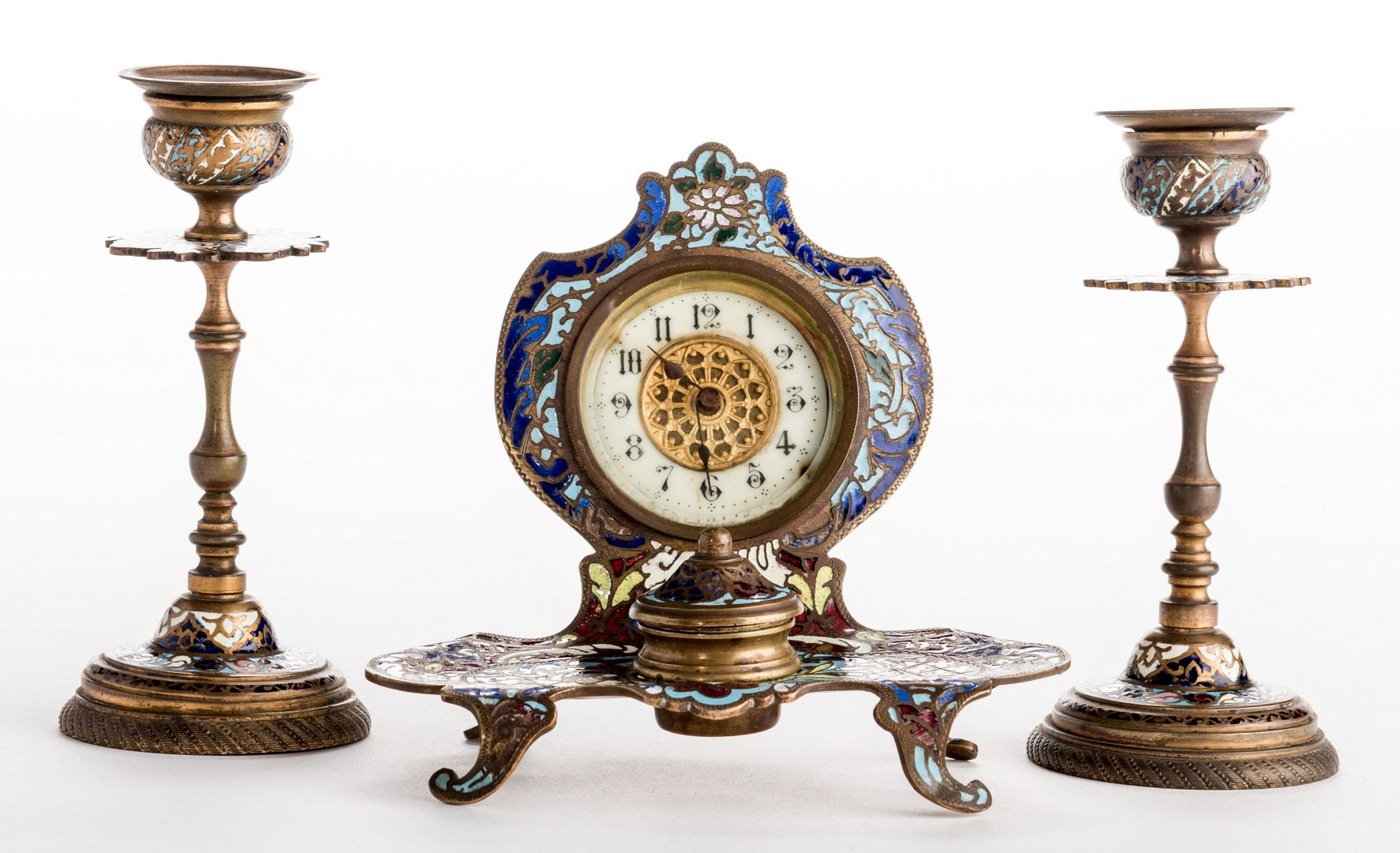 Lot 722: Champleve Inkwell/Clock and Candlesticks