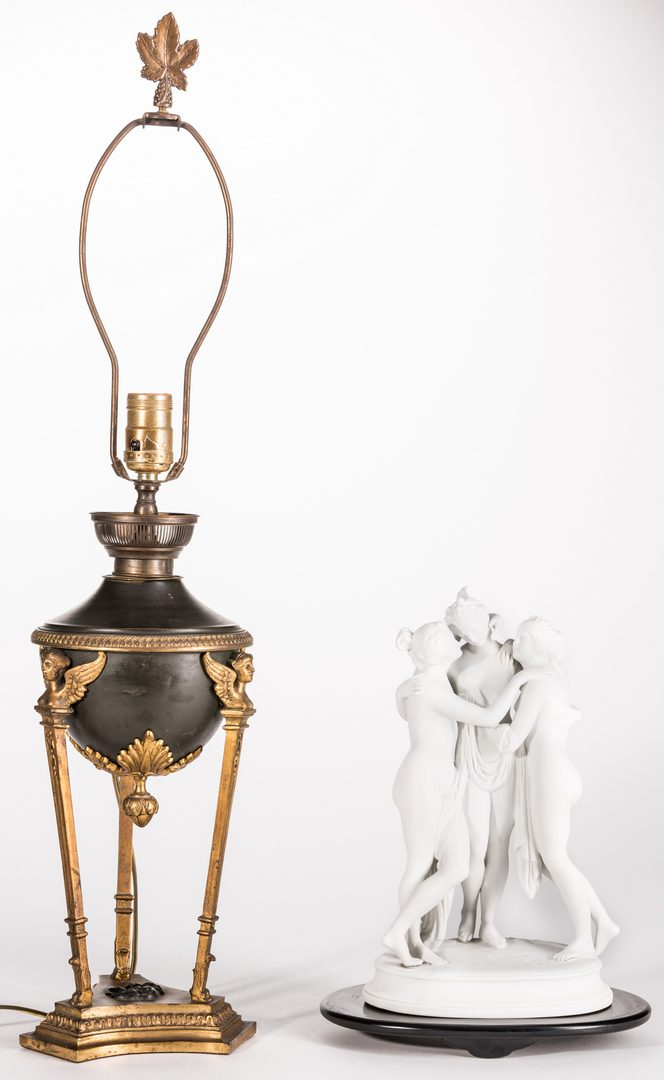Lot 723: Bisque Porcelain Figural & French Bronze Mounted Lamp, 2 items