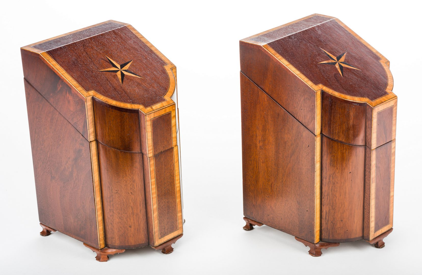 Lot 735: Pr. English Mahogany Inlaid Knife Boxes