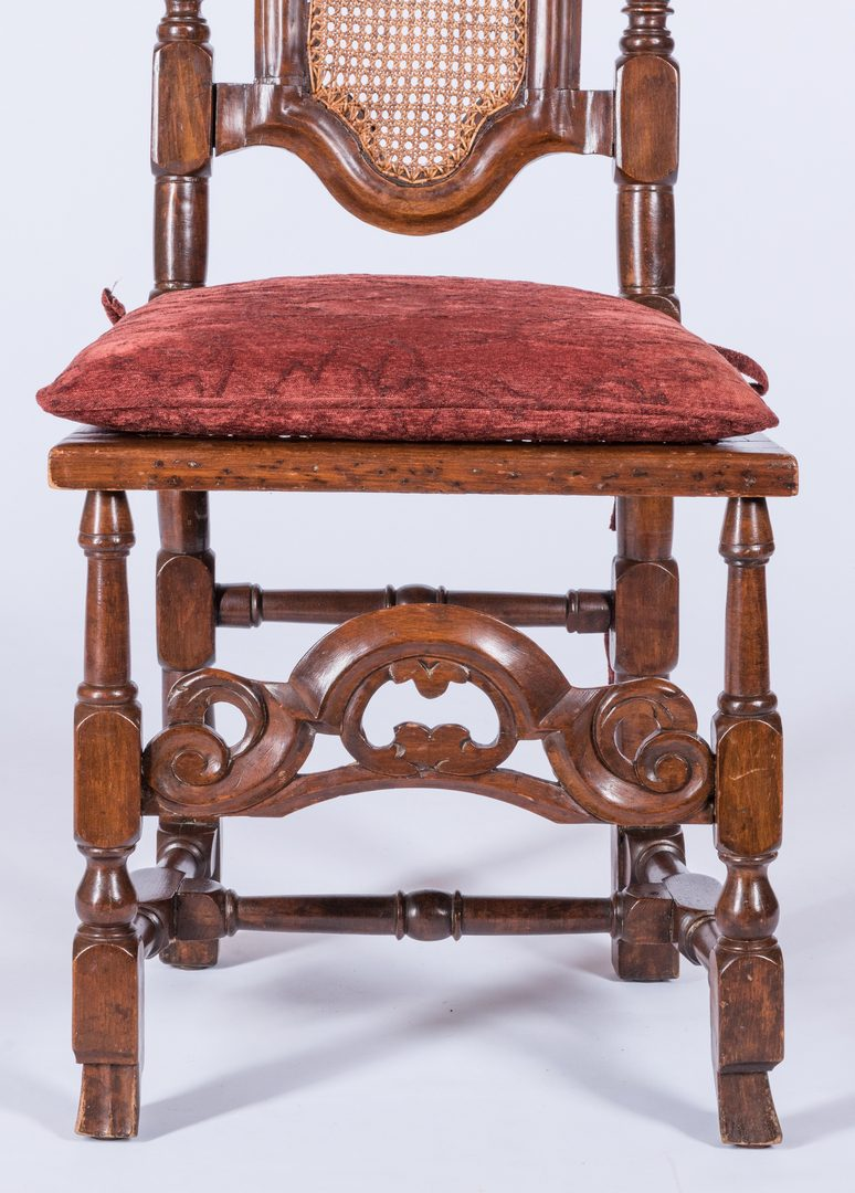 Lot 737: William & Mary Carved High Back Chair