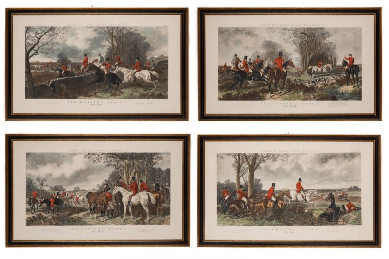Lot 740: 4 English Hunt Scenes after Herring, framed