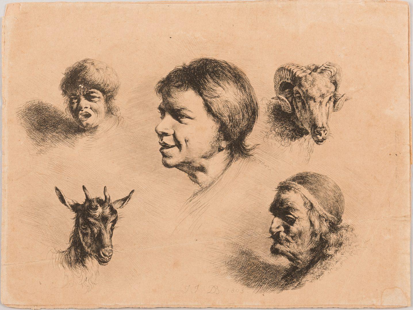 Lot 745: 5 Works on Paper, inc. Hogarth, Boissieu